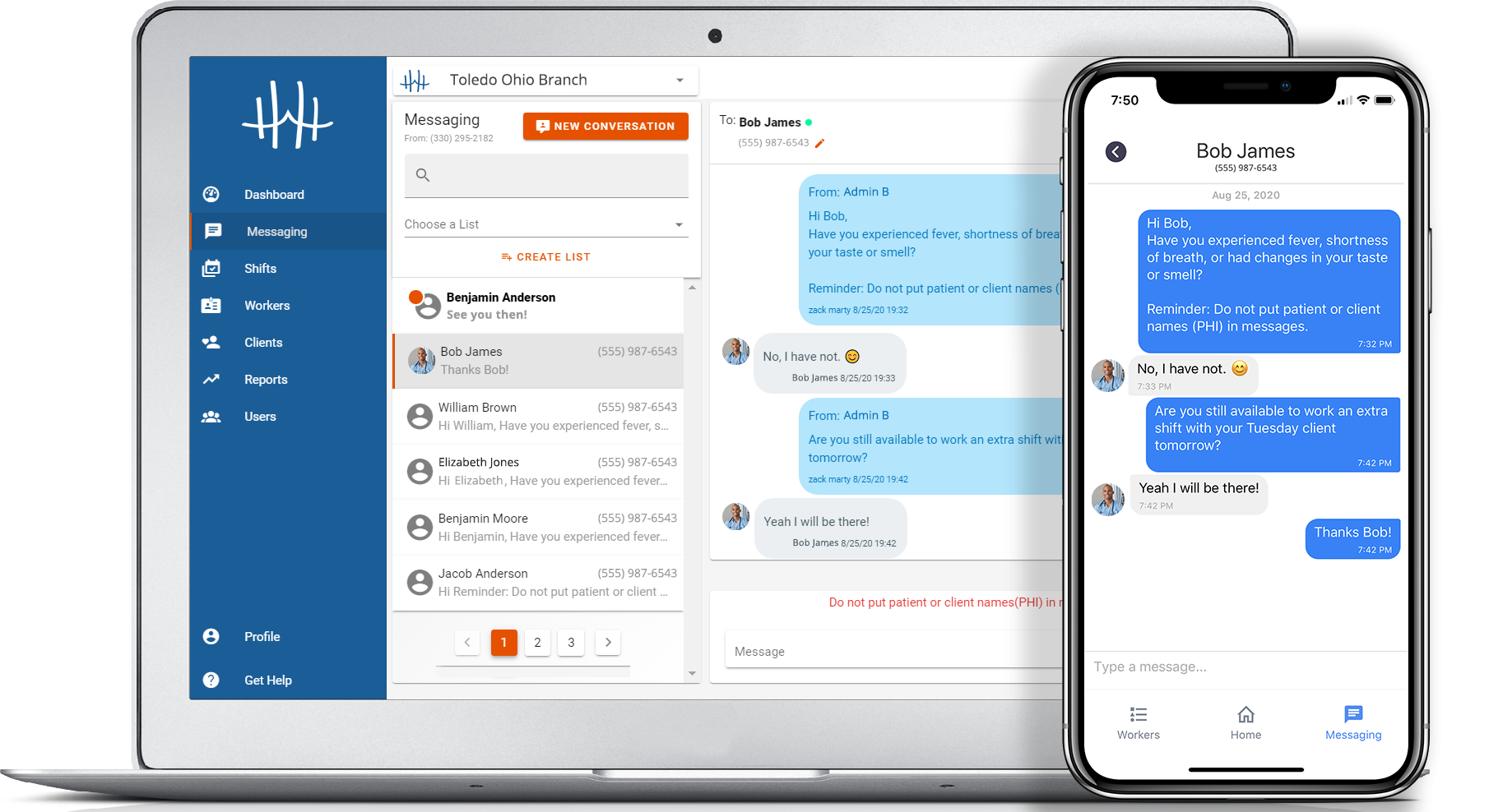 HomeHero Engage mass text messaging on desktop and mobile